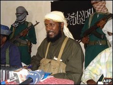 Somalia's Islamic group al-Shabab holds a news conference in Mogadishu on 14 December 2008