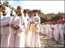 Yazidi's at a temple in Lalesh, 430 km northwest of Baghdad.