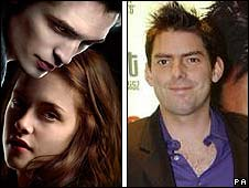 Robert Pattinson and Kristen Stewart in Twilight (left), with New Moon director Chris Weitz (right)