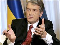 Виктор Ющенко во время интервью Би-би-си