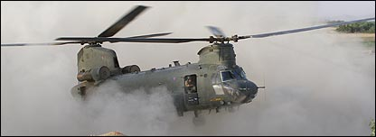 A helicopter touches down in Afghanistan