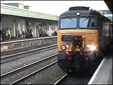 The train arriving in Cardiff