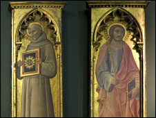 Richard Stansfield's picture shows the two panels, which depict Saint Bernardino, left, and an unidentified saint