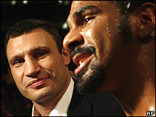 Vitali Klitschko (left) and David Haye