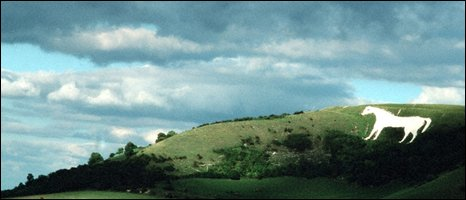 White horse on hillside, BBC