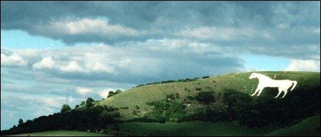 White horse on hillside, BBC