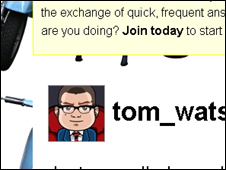 Tom Watson's page on Twitter, Twitter
