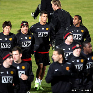 Manchester United players train in Tokyo