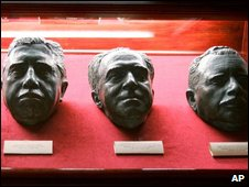 Bust of Gen Pinochet (left) and other figures who led the military coup in 1973