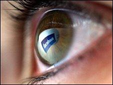 Reflected Facebook logo