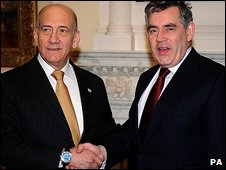 Ehud Olmert and Gordon Brown