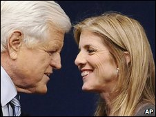 Ted Kennedy (left) and Caroline Kennedy (right) in a file photo from May 2008