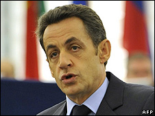 French President Nicolas Sarkozy addressing European Parliament, 16 Dec 08