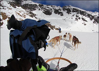The cameras capture  the experience of travelling by dog sled