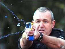 Police officer using Taser stun gun