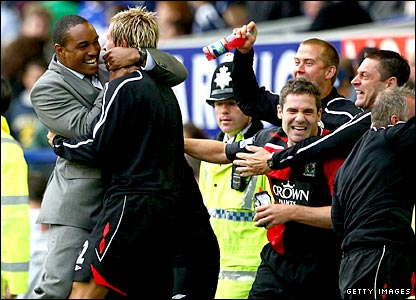 Paul Ince celebrates Blackburn's win at Everton