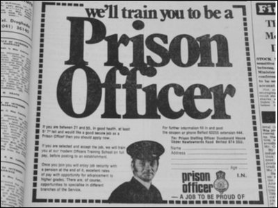 Prison officer ad ex Irish news