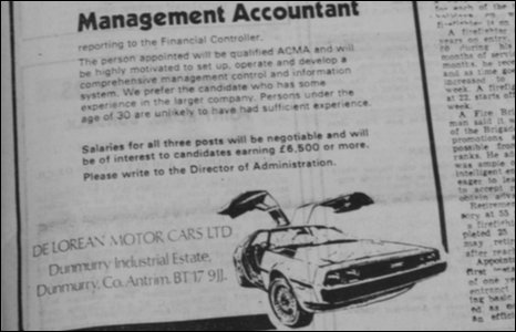 Delorean ad ex Irish News