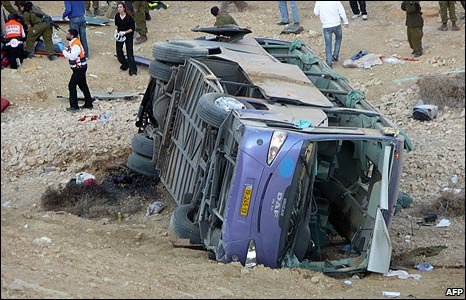 Bus on its side in Negev desert, Israel (16/12/2008)