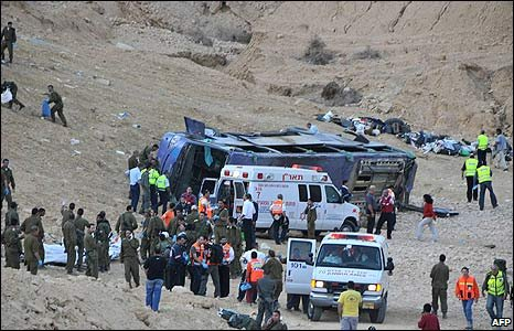Medical workers at the scene of the crash in southern Israel (16/12/2008)
