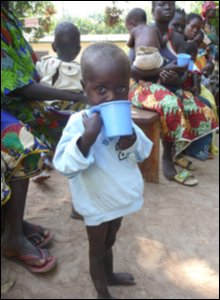 Child at feeding centre in Bossangoa