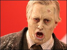 David Mitchell playing a zombie on BBC TV