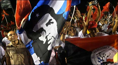 "Supporters of the Sandinista National Liberation Front party, FSLN, waving a Cuban flag with an image depicting Argentine-born revolutionary hero Ernesto ""Che"" Guevara during November's elections"