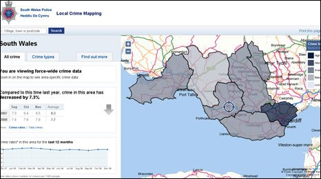 Crime map from South Wales Police