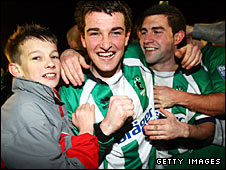 Ged Dalton of Blyth celebrates his team's win over Bournemouth