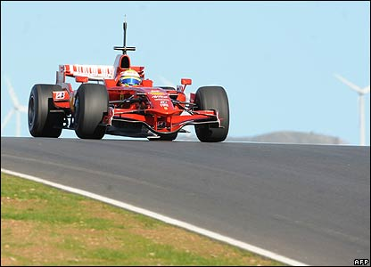 Felipe Massa at testing in Portugal