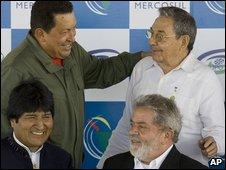 Clockwise from top left: Venezuela's Hugo Chavez, Cuba's Raul Castro, Brazil's Luiz Inacio Lula da Silva and Bolivia's Evo Morales