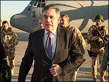 Gordon Brown arrives in Baghdad