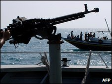 Yemeni coast guard manning a machine gun