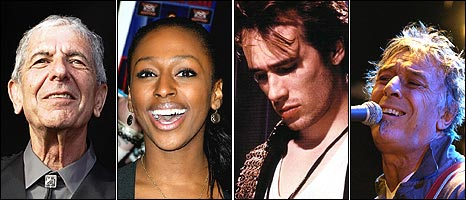 Leonard Cohen, Alexandra Burke, Jeff Buckley, John Cale 