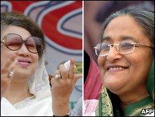 Khaleda Zia (L) and Sheikh Hasina
