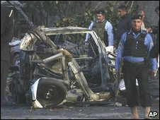 The wreckage of a car bomb attack