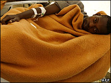 A cholera victim in a hospital ward at the Budiriro Polyclinic in Harare