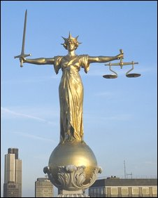 The scales of justice atop the Old Bailey