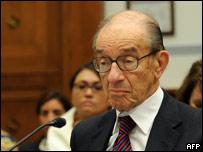 Alan Greenspan durante una audiencia en el senado.