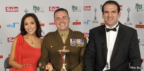 Myleene Klass, 'Faz' Farrell and Martin Johnson