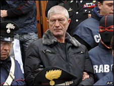 Gaetano Lo Presti, being arrested on 16 December 2008