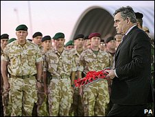 Gordon Brown lays a wreath at Basra airbase to commemorate British soldiers who have died in Iraq