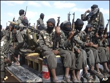 Armed fighters from the al-Shabab group