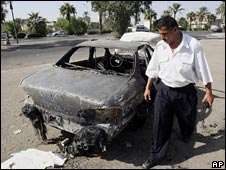 A car destroyed in the incident in Baghdad in September 2007