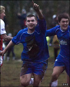 Phil Hagan celebrates for Lochee