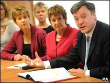 School's Secretary Ed Balls with the agony aunts in October
