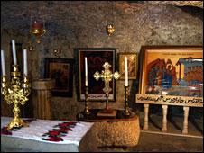 Inside the church at Burqin, 17 December 2008