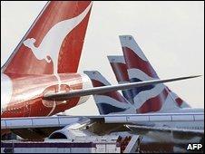 Qantas and BA planes at Heathrow