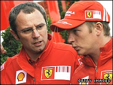 Ferrari team boss Stefano Domenicali with Kimi Raikkonen