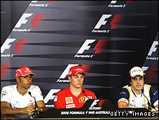 Lewis Hamilton, Kimi Raikkonen and Fernando Alonso